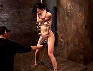Choke out tieZippered, caned, tortured w/brutal orgasms, pulled to toes & crotch roped! INTENSE!