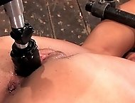 20yr old co-ed is trapped and bound. A machine fucks her whiles she is helpless.