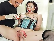 Brunette shows off an ass specially grown for caning