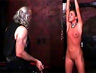 Blindfolded and naked, this skinny slave begs for mercy and only receives a stiff beating