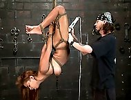 Ebony first timer in rough bondage!
