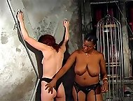 Thick black mistress gets off on making her white slave squeal from a vicious ass caning