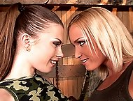 Wild lesbian fisting with babes hot Johane and blonde Kathia