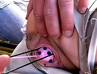 Adorable blonde is tied up and fucked from behind!