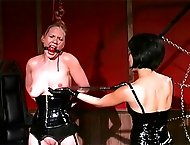 Asian mistress beats the hell out of her slave with nipple clamps and hard whip smacks