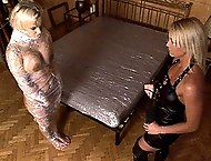 Hot blonde chicks Britney and Kath have perverted spanking sex