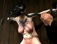 Big Titty Sybian Riding Slut wears Gas Mask