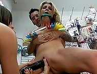 Hot blond Milf, Amanda Blow, gets taken to the 99 cent store to be fucked and humiliated by Tommy Pistol and Princess Donna.