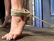 It's her first hardcore Bondage shoot.She cums like a whore while gagged & suspended! Category 5