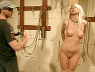 Skinny blonde Chloe Bright dominated by a guy