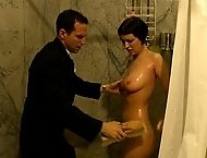 Hot naked service slut work out and ass caned in the Lounge